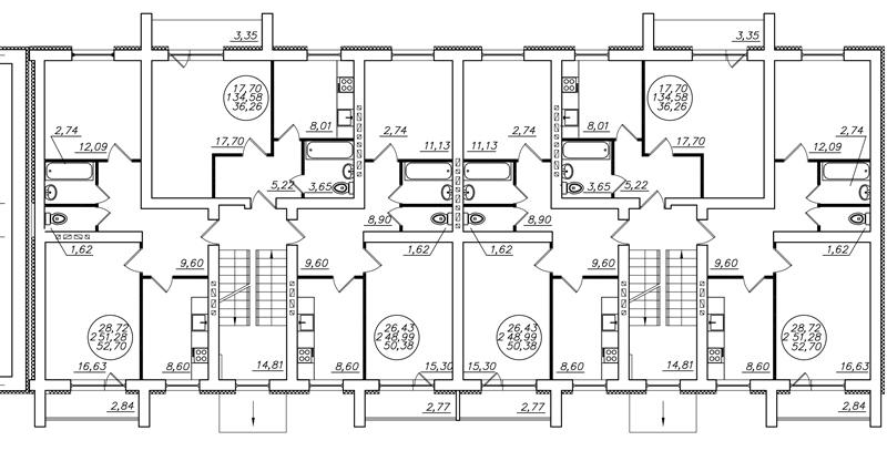 Строительный чертеж (план этажа)