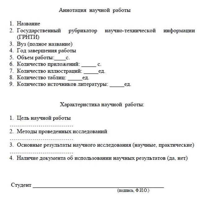 Образец шаблона для заполнения аннотации к диплому.