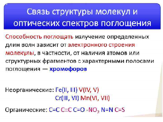 Связь структуры молекул и оптических спектров поглощения. Автор24 — интернет-биржа студенческих работ