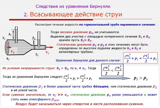 Следствия из уравнения Бернулли. Автор24 — интернет-биржа студенческих работ