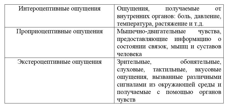 Классификация ощущений. Автор24 — интернет-биржа студенческих работ