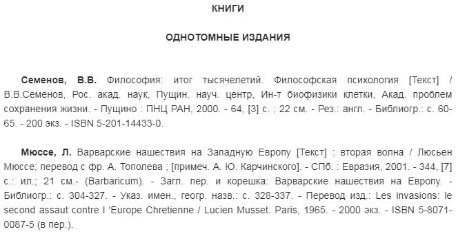 Примеры библиографических записей.