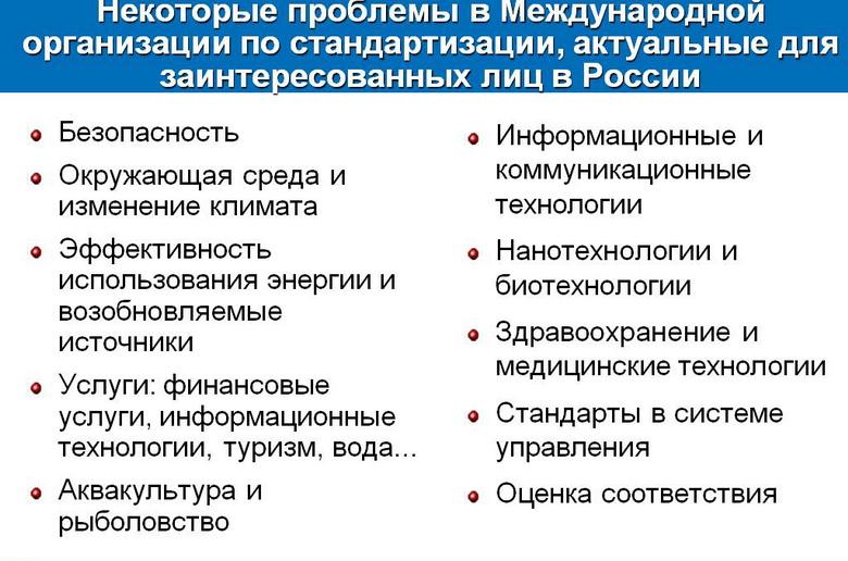 Некоторые проблемы в Международной организации по стандартизации, актуальные для заинтересованных лиц в России