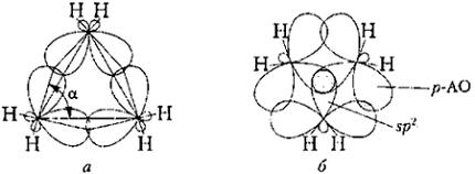 Схема образования связей в циклопропана: а - структура А, Коулсона и Е. Моффита, б - структура А. Уолша. Автор24 - интернет-биржа студенческих работ