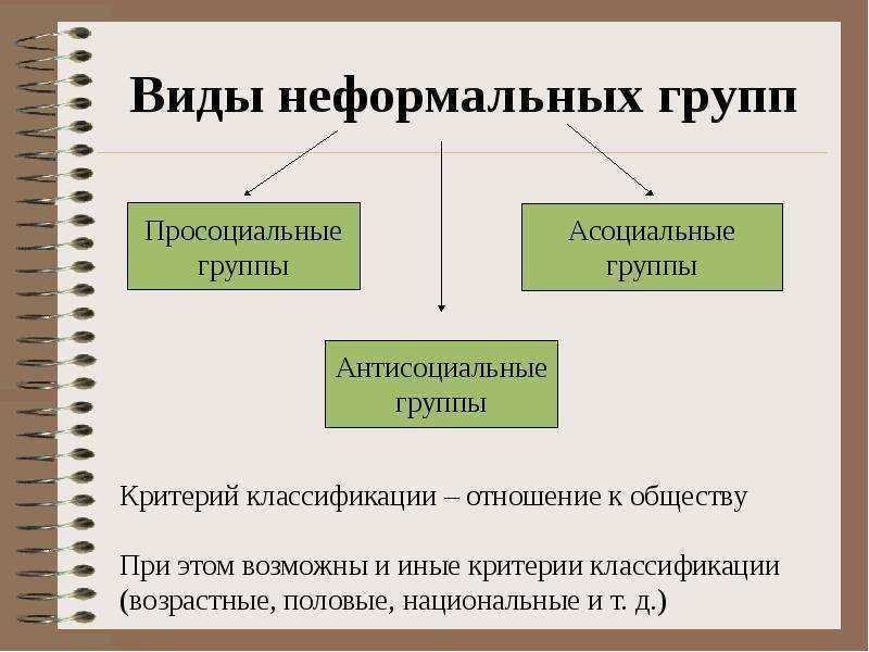 Виды неформальных групп. Автор24 — интернет-биржа студенческих работ