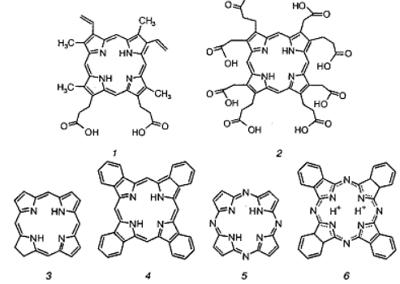 Примеры производных порфина: 1 — протопорфирин; 2 — уропорфирин; 3 — хлорин синтетический; 4 — тетрабензо- порфирин; 5 — тетраазапорфирин; 6 — фталоцианин. Автор24 — интернет-биржа студенческих работ
